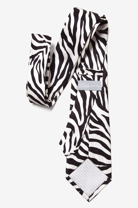 Zebra Print Black Extra Long Tie Photo (1)