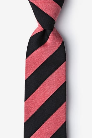 Black And Coral Rotterdam Stripe Tie