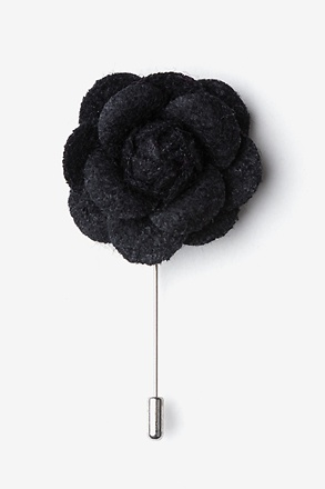 Black Wool Felt Rose Lapel Pin