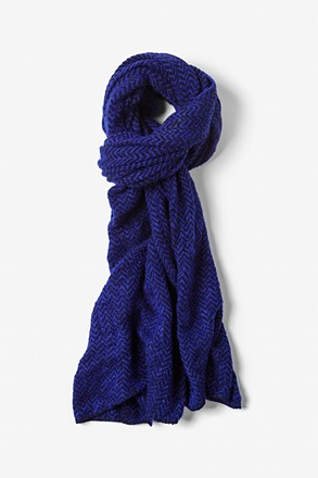 Blue Seattle Striped Knit Scarf
