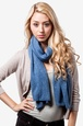 Blue Acrylic Heathered Solid Knit Scarf