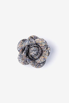 Boucle Tweed Flower Blue Lapel Pin