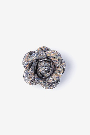 _Boucle Tweed Flower Blue Lapel Pin_