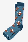 Sloth Yoga Blue Sock