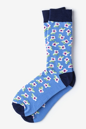 _Garden Grove Floral Blue Sock_