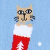 Blue Carded Cotton Meowy Christmas Sock