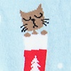 Blue Carded Cotton Meowy Christmas Women's Sock