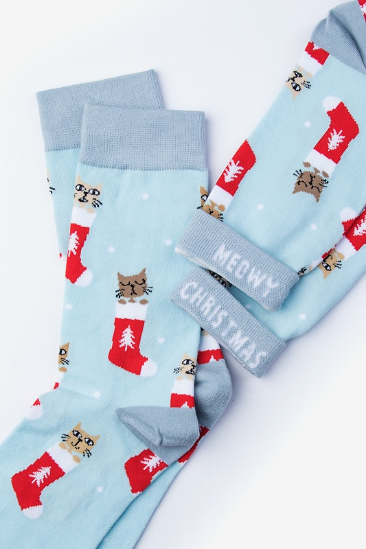 Meowy Christmas Blue Women's Sock Photo (1)