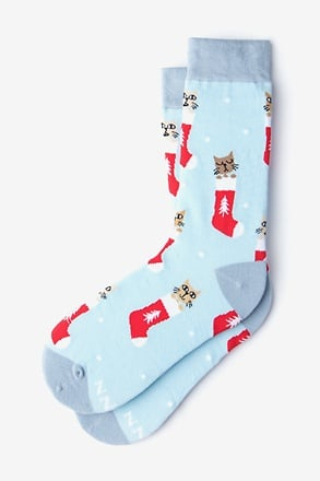 _Meowy Christmas Blue Women's Sock_