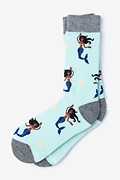 Blue Carded Cotton Mermaids Are Real Women's Sock