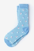 Blue Carded Cotton Sail Boat Women's Sock