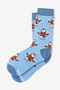 Blue Carded Cotton Sloth Yoga Women's Sock