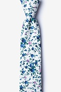 Blue Cotton Bellevue Skinny Tie