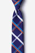 Blue Cotton Bellingham Skinny Tie