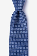 Blue Cotton Fayette Extra Long Tie