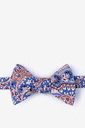 Blue Cotton Gable Self-Tie Bow Tie