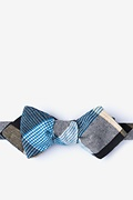 Blue Cotton Jules Diamond Tip Bow Tie