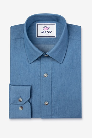 _Liam Denim Blue Classic Fit Untuckable Dress Shirt_