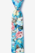 Blue Cotton Tasmanian Skinny Tie