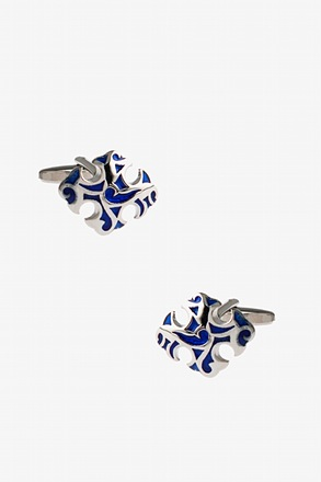 Baroque Ornament Blue Cufflinks