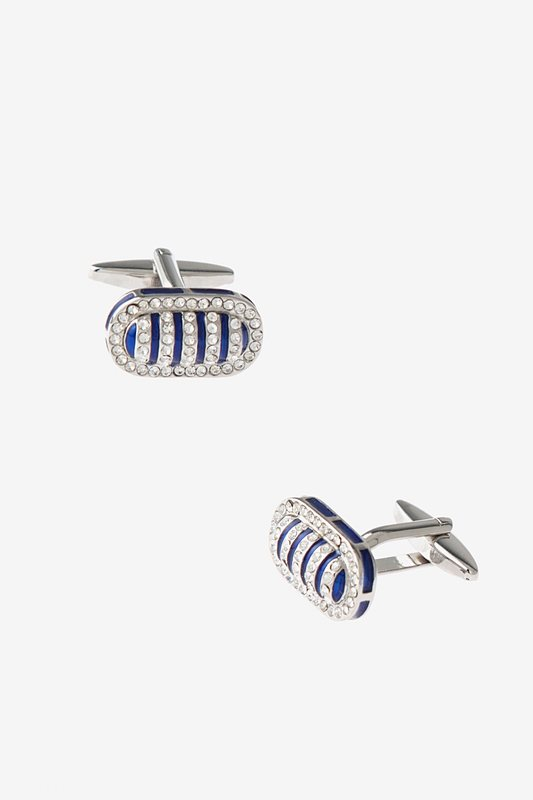 Bedazzled Framed Bean Blue Cufflinks Photo (0)