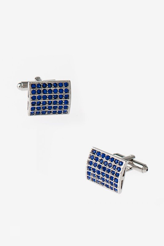 Bejeweled Boxed Rectangle Blue Cufflinks Photo (0)