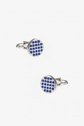 Bejeweled Round Blue Cufflinks