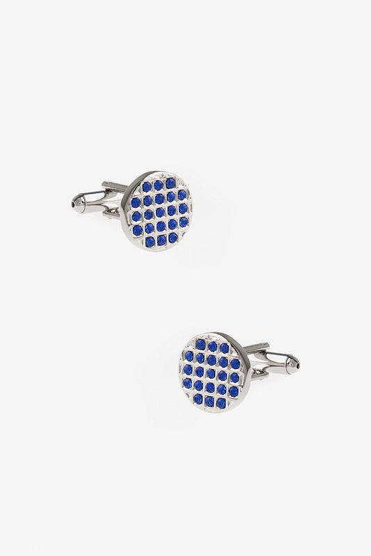 Bejeweled Round Blue Cufflinks Photo (0)