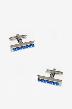 Bejeweled Solid Bar Blue Cufflinks