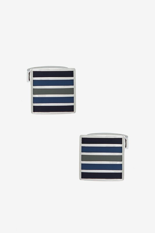 Drew Striped Square Blue Cufflinks Photo (0)