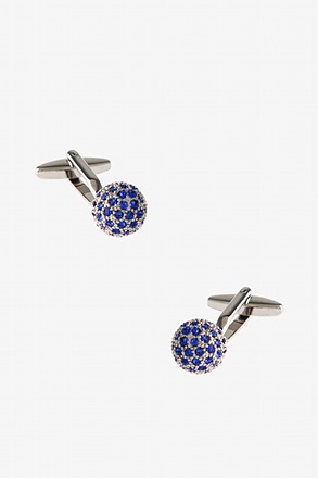 Embellished Disco Ball Blue Cufflinks