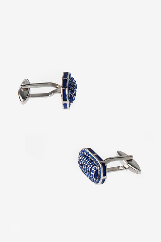 Flashy Oval Blue Cufflinks Photo (0)