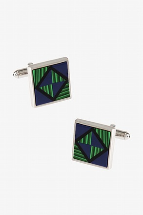 Geo Checkered Blue Cufflinks