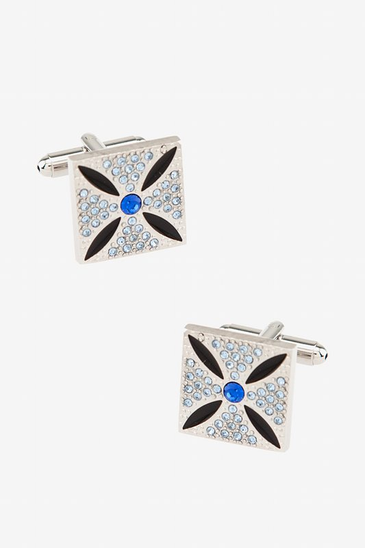 Geo Floral Blue Cufflinks Photo (0)