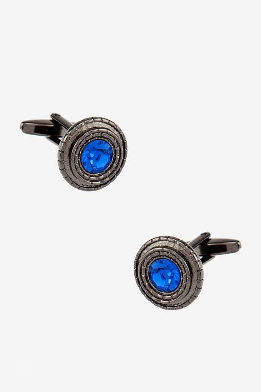 Notched Round Gem Cufflinks Photo (0)