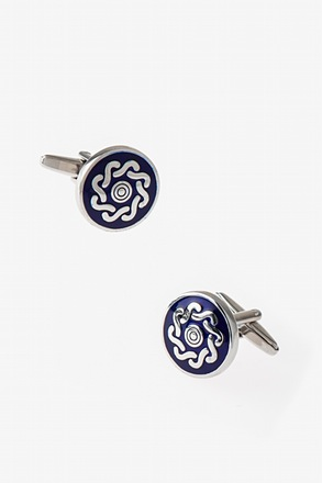 Round Embellishment Blue Cufflinks