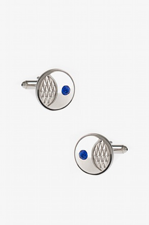 Round Embossed Gem Cufflinks