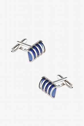 Round Striped Cylinder Cufflinks