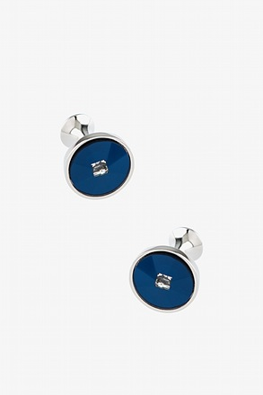 Round With Square Stone Cufflinks