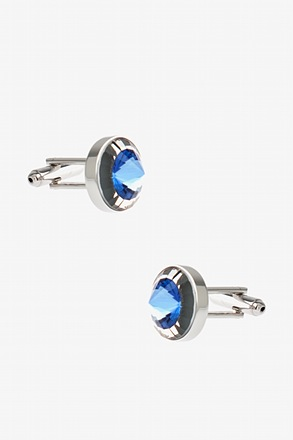 _Rounded Colorblock Peak Blue Cufflinks_