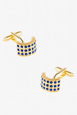 Rounded Rhinestone-Crusted Cufflinks