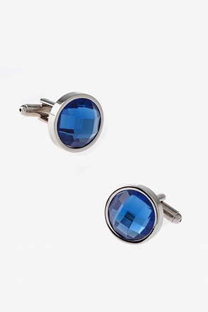 _Simple Round Rhinestone Cufflinks_