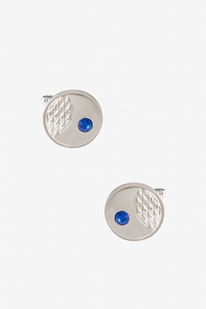 Solid Engraved Rhinestone Cufflinks