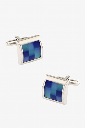 Square Color Scheme Blue Cufflinks
