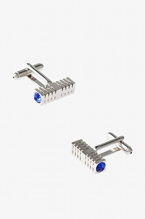 Square Rhinestone Bar Blue Cufflinks