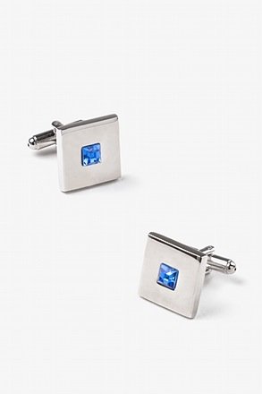 Square Stud Blue Cufflinks