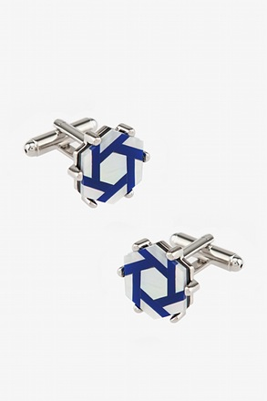 _Studded Octagon Blue Cufflinks_