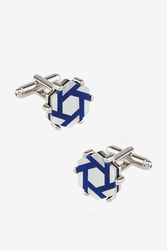 Studded Octagon Blue Cufflinks Photo (0)