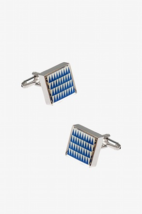 Thick Patterned Square Blue Cufflinks
