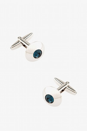 Wide Embellished Dome Blue Cufflinks